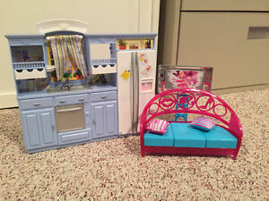 Barbie kitchen and couch/tv