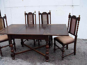 1920's English Pub Style, Solid Oak Table with Four Chairs