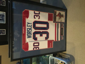 Montreal Canadians Gump Worsley framed singed jersey