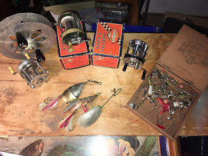 Antique fishing reels, lures and tackle