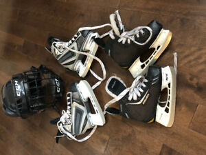 Youth Hockey Skates and Helmet