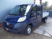 £ 45 A WEEK - 2013 PEUGEOT BOXER 2.2 DOUBLE CREW CAB 7 SEAT DROPSIDE TRUCK 129HP