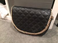 Black crossbody bag - with gold chain