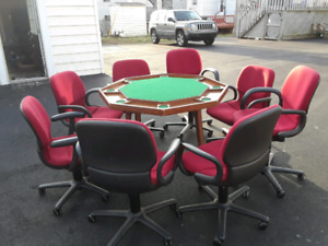 Poker table and office chairs for sale