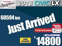 2013 Honda Civic LX with 7 year/200,000km extended warranty.