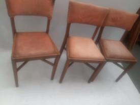 Vintage retro antique wooden kitchen dining chairs x 3 pink velvet