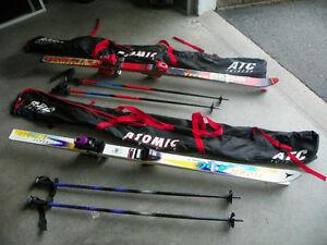 2 sets complete ski's, poles & boots