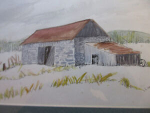 Picture framed art by L.  Wdowczyk, cross-hatching and colours