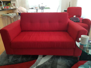 Red loveseat couch