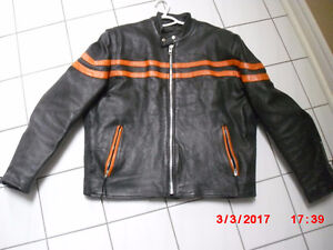 Harley Davidson Leather Jacket c/w orange stripes