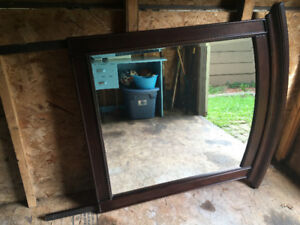 Large Mirror, dark wood