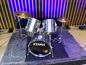 Tama rockstar drums with hardware and cymbals