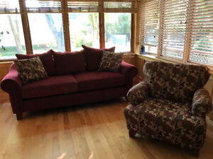 Sofa and Accent  chair with matching cushions