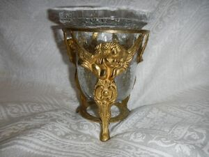Brass Angel Candle Tripod Holder with Crackle Glass Vase