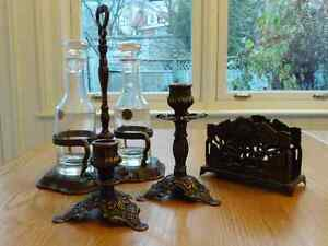 Gorgeous italian bronze candlesticks and table accessories