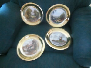VINTAGE BRASS WALL HANGING - PLATES WITH CERAMIC PICTURE