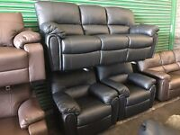 Littlewoods Leighton black leather three piece suite 3 seater sofa and 2 armchairs recliner
