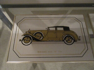 Mirrored Antique Car Wall Decor- pair of pictures for $15.00