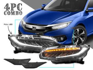 USA Combo Type R Full LED Headlight+Smoke Side Marker For 2016-2017 Honda Civic