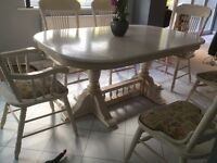 Limed oak extendable table and chairs