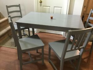 delivery included- solid wood dining table 4 chairs