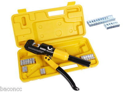 10 Ton Hydraulic Crimping Battery Cable Wire Crimper Lug Terminal Tool W 9 Die