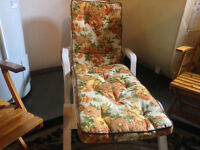 Lounger, Wooden Folding Bench and 5 Chairs (Estate Sale)