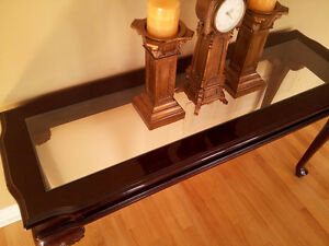 Solid wooden carved glass top hallway entrance console table London Ontario image 4
