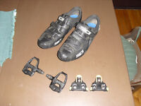 SIDI cycling road bike shoes & SHIMANO pedals W/ New cleats