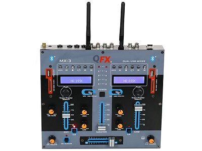 Qfx Mx 3 2 Channel Professional Dj Mixer  Dual Bluetooth  Dual Usb Sd  Echo