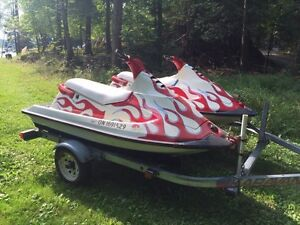 Two Jetskis with double trailer