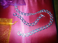 Silver Plated Necklace (chain) And Matching Bracelets For Women