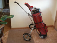 Golf Clubs and Bag with Cart