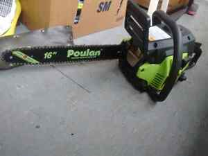 "34cc Poulan chainsaw 16"" paid 150 take 80cash been used mabe 3hr"