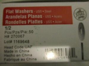 FLAT STEEL WASHERS 1/2 INCH, 50/BOX