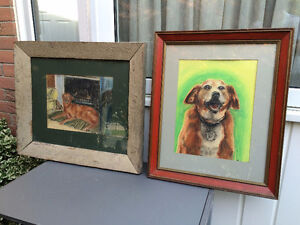 2 Vintage Original Signed Framed Paintings of Puppies
