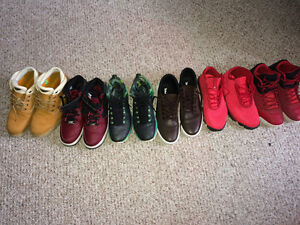 Men's timberland, airforce 1, and Jordan's for sale!
