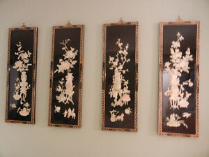 Vintage Chinese Black Lacquer Wall Hangings