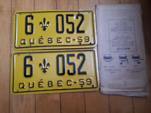icence Quebec pair 1959 LICENSE PLATE