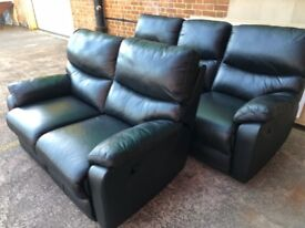 Harveys WARREN Black leather reclining three seater and two seater ex display model