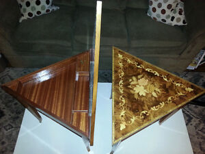 2 Vintage Inlaid Wood Musical Triangle Accent / End Tables London Ontario image 3