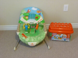 BABY BOUNCY CHAIR WITH MUSIC and MEGA BLOCKS