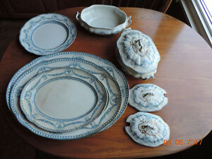 Authentic Blue and White China Dinnerware Pieces from 1800's.