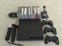 PS3 Slim 160gig, 20 games, and controllers