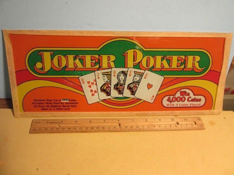 "JOKER POKER Slot Machine Belly Glass SIGN -15 1/4 x 6"""