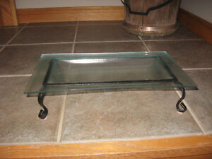 glass dish with stand