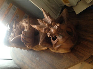Selling hand carved 1 of a kind wood dragon
