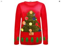 Brand new ladies men unisex red Christmas trees jumper with led flashing lights