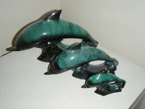 Blue Mountain Pottery,Set of 3 different sized swimming dolphins