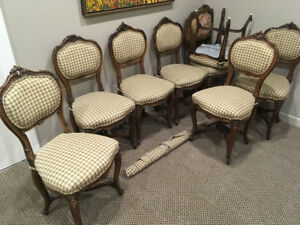 Hand Carved Set of 8 Antique French Louis XV Style Chairs